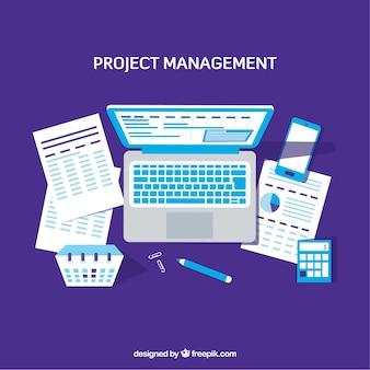 Lila projektmanagement-konzept