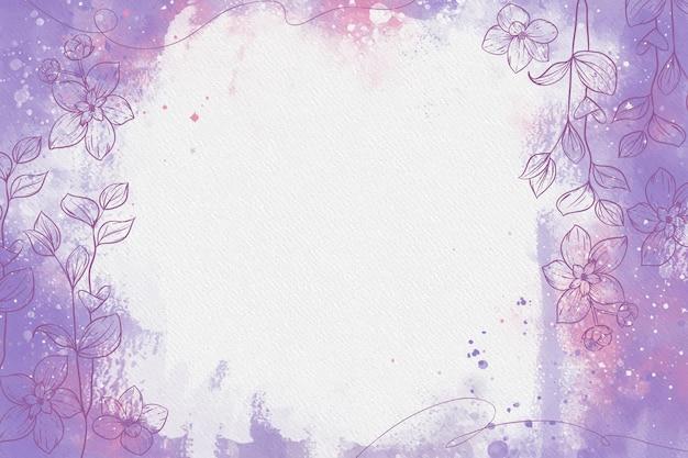 Lila puderpastell mit handgezeichneten elementen