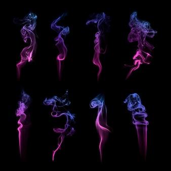 Lila rauch strukturierte vektor-set
