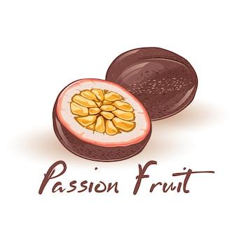 Lila runde passionsfrucht ganz und halbiert mit saftigem essbarem zentrum, das aus einer großen anzahl von samen besteht. natürliches gesundes vegetarisches produkt. karikaturillustration auf weiß.