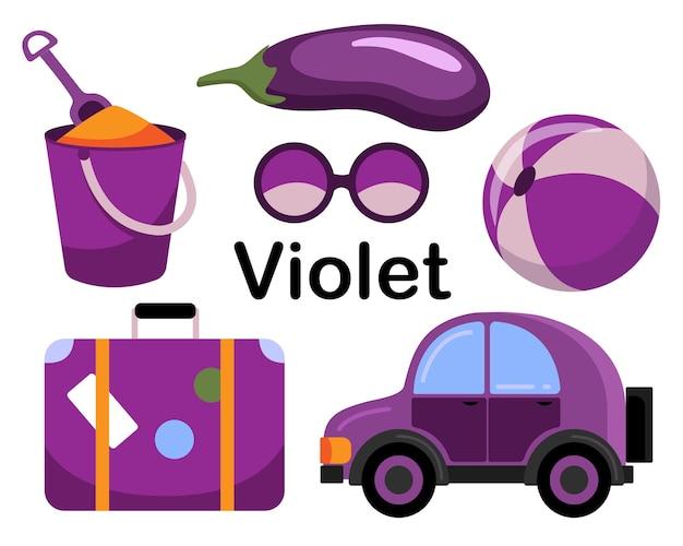 Lila. satz von gegenständen. die sammlung umfasst auberginen, auto, ball, strandkübel mit schaufel, brille, koffer.