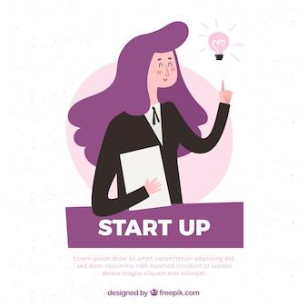 Lila startup-konzept mit frau
