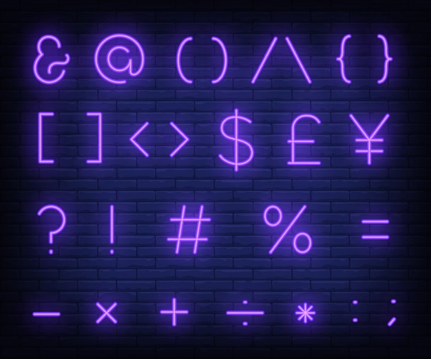 Lila textsymbole leuchtreklame