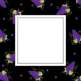 Lila traubenhintergrund mit quadratischem rahmen