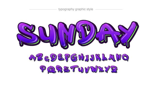 Lila tropfende graffiti-typografie