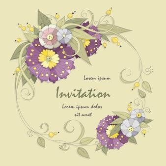 Lila und blaue blüten. einladungskarte für urlaubsveranstaltungen.