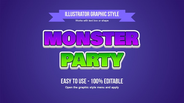 Lila und grün 3d fett großbuchstaben cartoonish editable font style