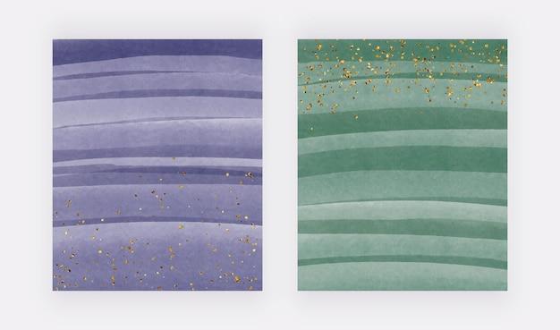Lila und grüne pinselstrich-aquarellhintergründe