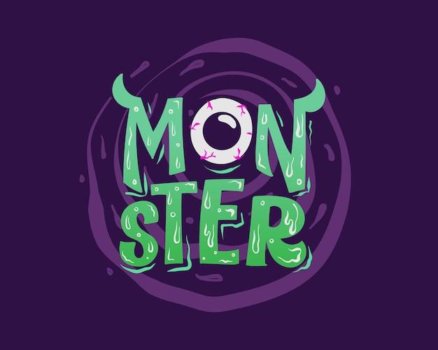 Lila und grüner monster-halloween-schriftzug-hintergrund