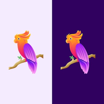 Lila und orange papageien-logo