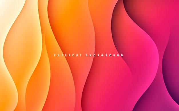 Lila und orangefarbener hintergrund mit dynamischem wellenförmigem licht und schatten