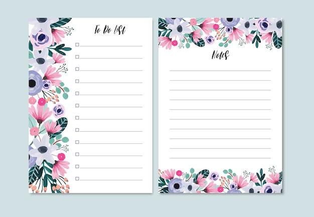 Lila und rosa blumen to do liste und notizen in gouache