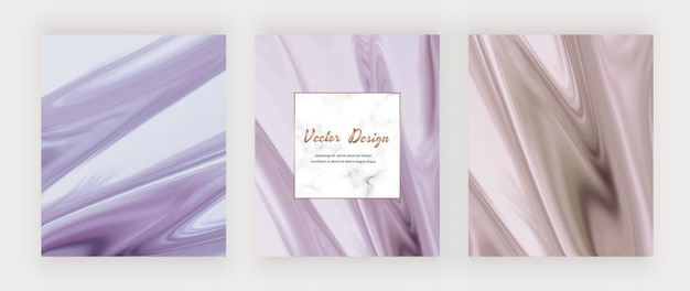 Lila und rosa flüssige tinte mit hintergründen und marmorrahmen.