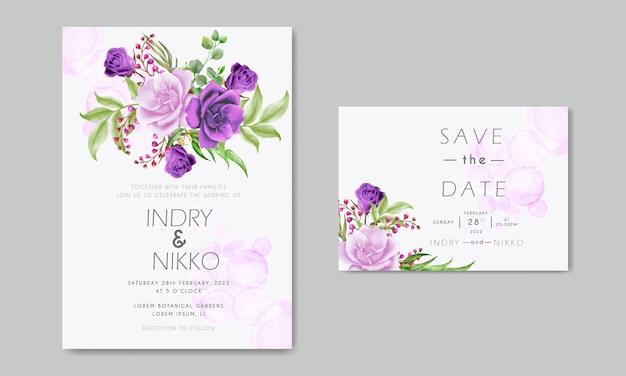 Lila und rosa rosenaquarellhochzeitseinladungskarte
