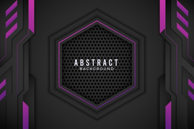 Lila und schwarz abstraktes metallic design tech innovation concept.premium vector