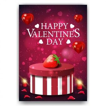 Lila valentinstagabdeckung mit geschenk und erdbeere