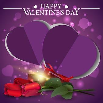Lila valentinstaggrußkarte mit geschenk und blumen