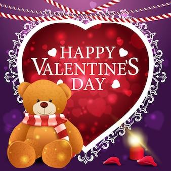 Lila valentinstaggrußkarte mit teddybär