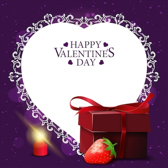 Lila valentinstaggrußkarte