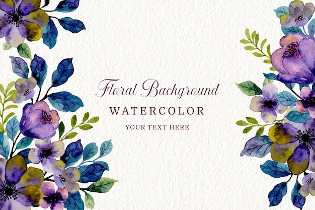 Lila violetter blumenhintergrund mit aquarell Premium Vektoren