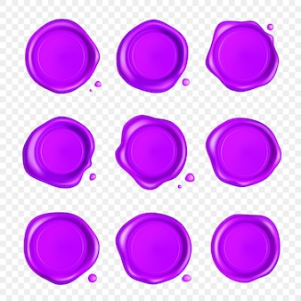 Lila wachssiegelset. wachssiegelstempelsatz mit tropfen lokalisiert auf transparentem hintergrund. realistisch garantierte lila briefmarken. realistische 3d-illustration.