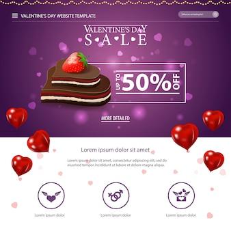 Lila website-vorlage mit valentinstag design