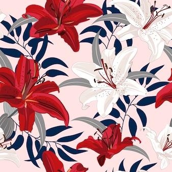 Lilienblume nahtlose muster