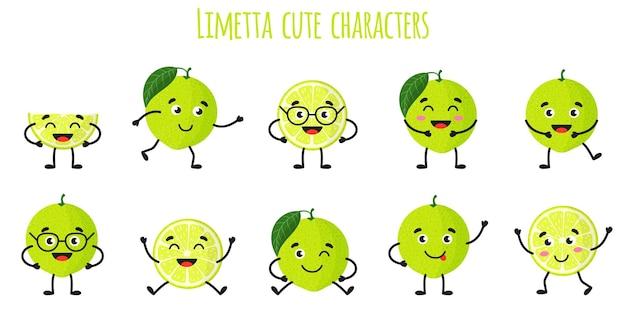 Limetta zitrusfrüchte süße lustige fröhliche charaktere mit verschiedenen posen und emotionen. natürliche vitamin-antioxidans-detox-lebensmittelsammlung. cartoon isolierte abbildung.