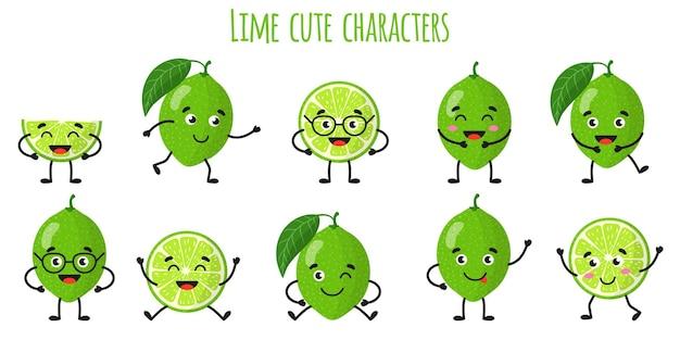 Limette zitrusfrüchte süße lustige fröhliche charaktere mit verschiedenen posen und emotionen. natürliche vitamin-antioxidans-detox-lebensmittelsammlung. cartoon isolierte abbildung.