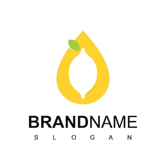 Limetten-logo mit tropfen-wasser-symbol
