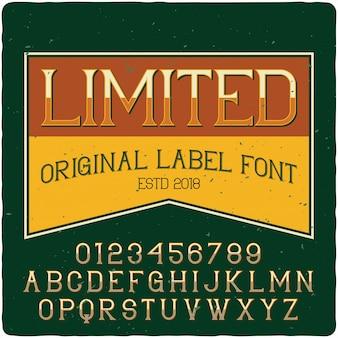 Limitierte labelschrift