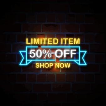Limitierter artikel 50% rabatt auf neon-stil zeichen illustration