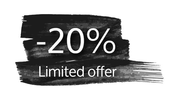 Limitiertes angebotsbanner auf schwarzem pinselstrich mit 20% rabatt. weiße zahlen auf schwarzem pinselstrich auf weißem hintergrund. vektor-illustration