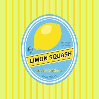 Limon-kürbis-retro-fruchtaufkleber