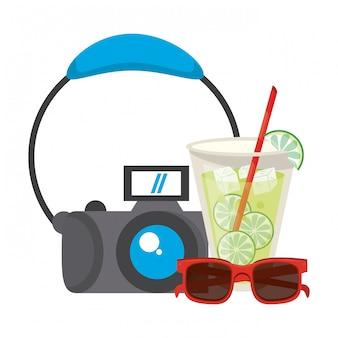 Limonade mit sonnenbrille und kamerakarikaturen