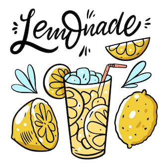 Limonade schriftzug und frisches sommergetränk. bunte illustration. auf weißem hintergrund isoliert. design für poster, banner, print und web.