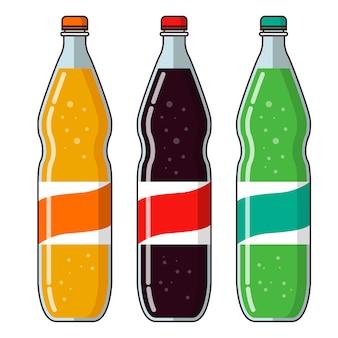 Limonaden-plastikflaschen, zitrusorangen- und zitronensodawasser.