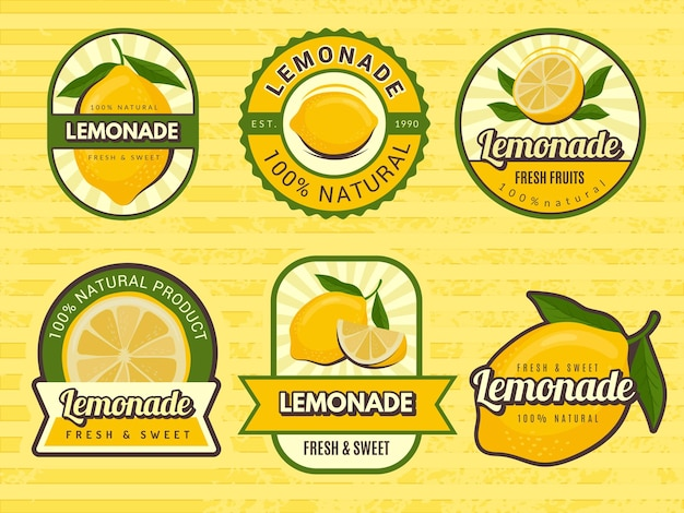 Limonadenabzeichen. retro-etiketten mit zitronenillustrationen entwerfen emblem für saft. etikettenemblem, fruchtlimonade, saftfrischgetränkillustration