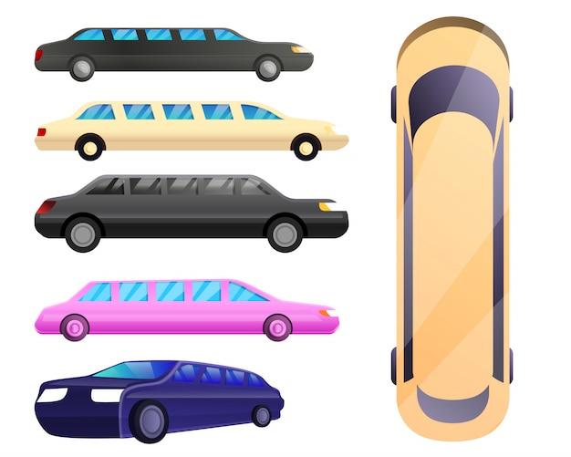 Limousinen-set im cartoon-stil