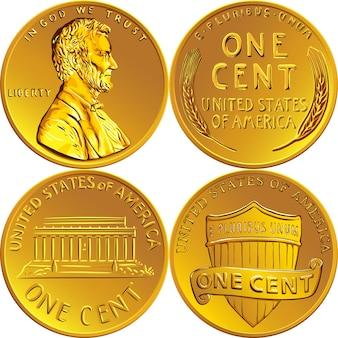 Lincoln weizen cent, usa ein cent oder penny, münze mit lincoln auf der vorderseite ob