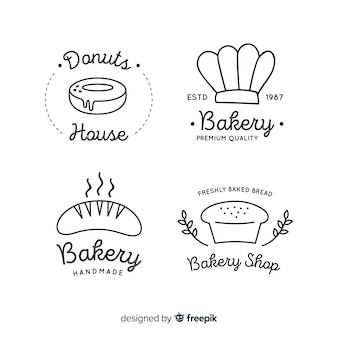 Line art bäckerei logos