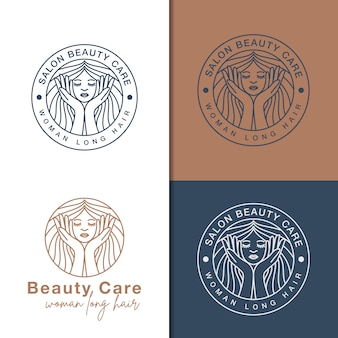 Line art beauty care logos