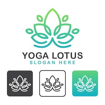 Line art blume yoga lotus logo, schönheitskosmetik und spa logo design vorlage