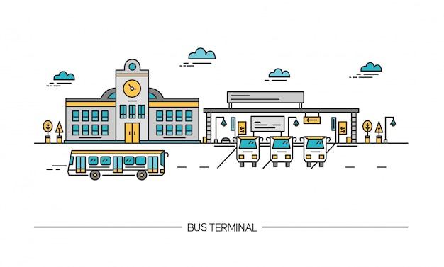 Line art bus terminal, bahnhof. bunte illustration im flachen stil.