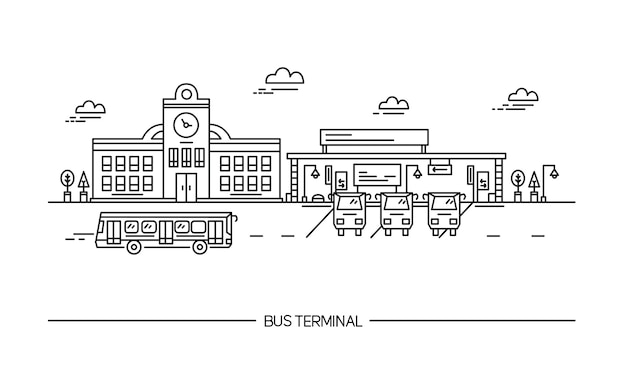 Line art bus terminal, bahnhof