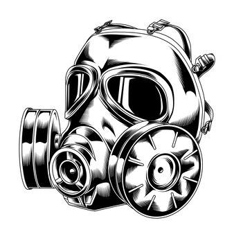 Line art gasmaske 04 taktisches militär