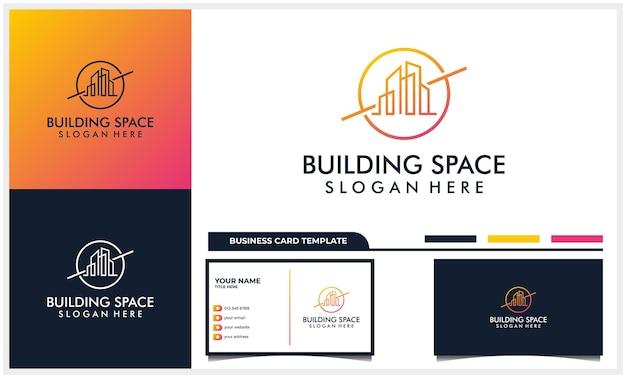 Line art gebäudearchitektur mit space planet logo designkonzept und visitenkartenvorlage