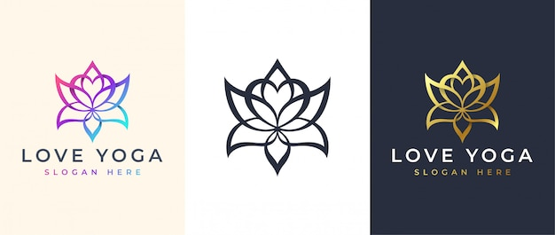 Line art lotus logo design