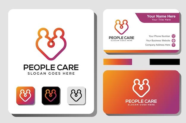 Line art menschen kümmern sich um logo-design, mensch mit liebeskonzept