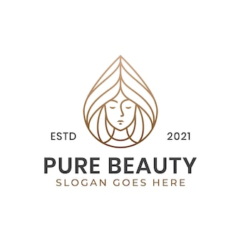 Line art pure beauty und wellness center logo